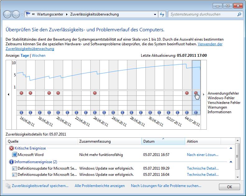 Windows 7: Zuverlässigkeitsüberwachung