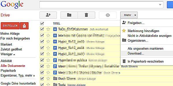 Download/Backup: Google Texte und Tabellen