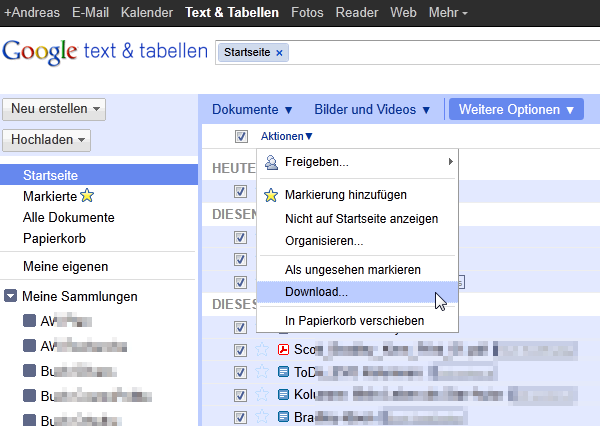 Backup: Google Texte und Tabellen