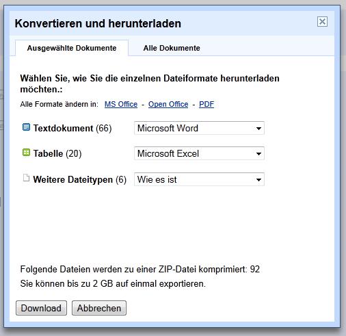 Dateien aus Google Docs per Backup sichern