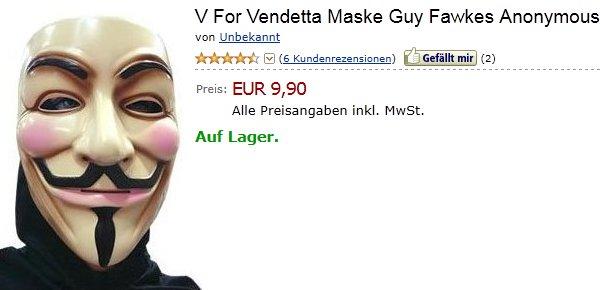 Anonymous Guy Fawkes Maske