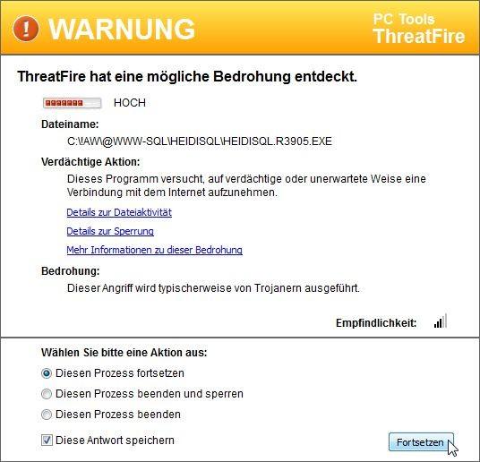 ThreatFire hat eine mögliche Bedrohung entdeckt