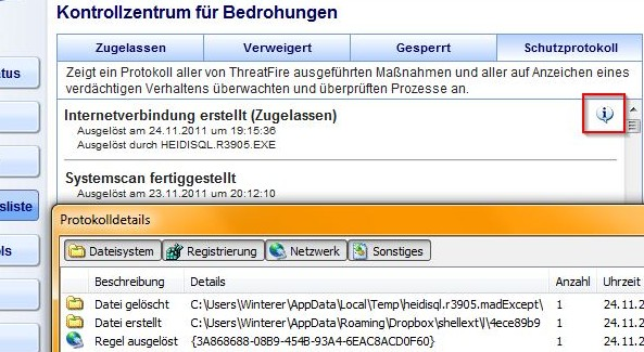 ThreatFire: Schutzprotokoll mit Protokolldetails