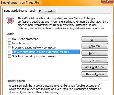 ThreatFire: Benutzerdefinierte Regeln