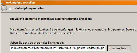 Flash-Update als Verknüpfung