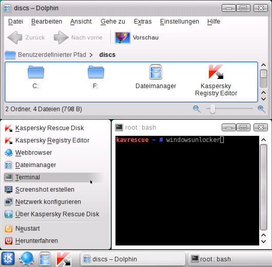 Kaspersky Rescue CD, Terminal: windowsunlocker
