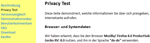 Maxa Browser Privacy Test