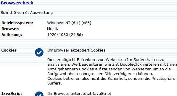 Der Browsercheck der Eidgenossen