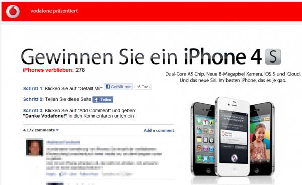 Vodafone verschenkt 500 iPhones 4S