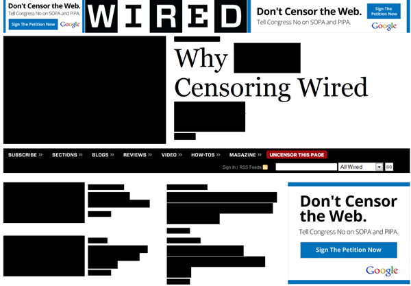 Natürlich auch ganz nett: Wired im Zensur-Look
