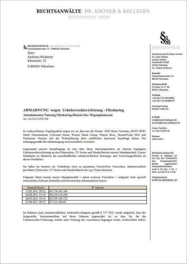 Gefälschte Megaupload Abmahnung Rechtsanwälte Drkroner Kollegen