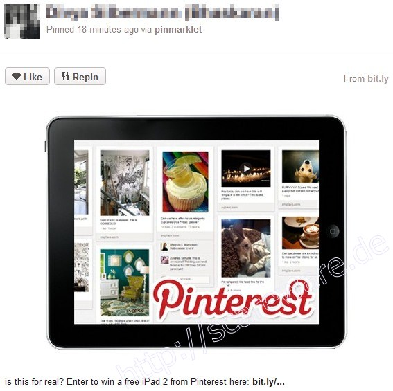 Pinterest-Spam: lockt mit Gewinn zum Draufklicken