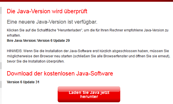 Java Plugin Version checken: schlecht, weil alt