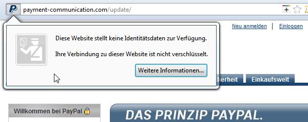 Paypal-Phising: Website ohne SSL-Identität