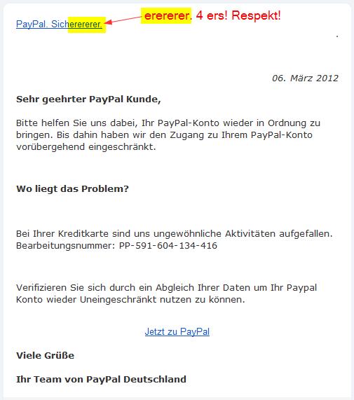 Phishing-Mail von paypal.info: Konto Problem! Mithilfe gefragt...
