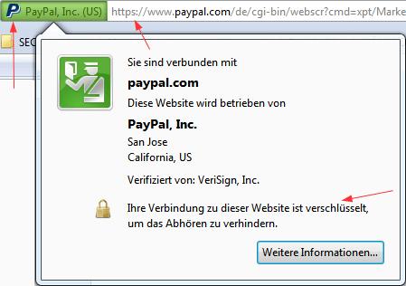 PayPal: echte Website mit Identitätsdaten