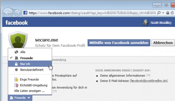 secure.me Login per Facebook