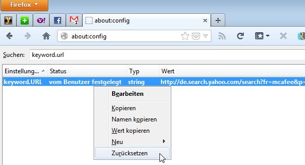 Firefox: Suchmaschine zurücksetzen