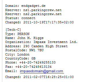 Domain endgadget.de - Impaxx Investment