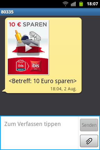 SMS-Spam vom Hotel Ibis