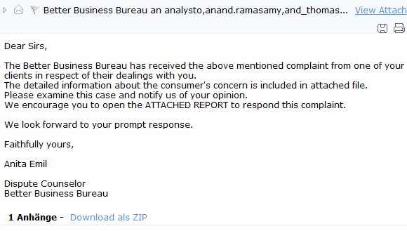 The Better Business Bureau has received the above mentioned complaint...
