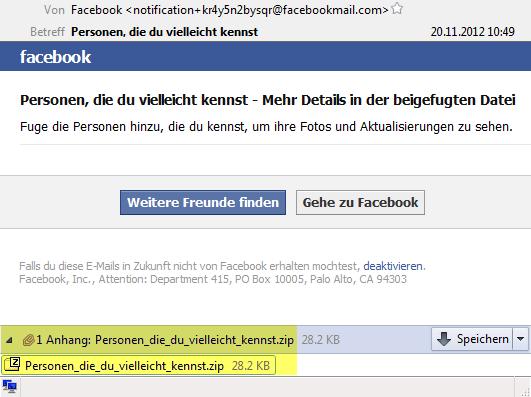 Facebook: Personen, die du vielleicht kennst - Mehr Details in der beigefugten Datei