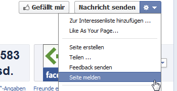 Facebook Seite melden