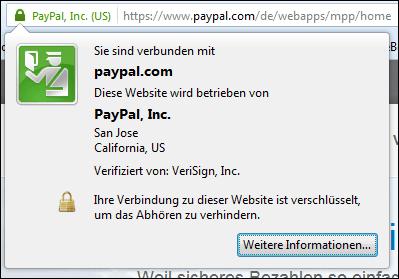 Das echte PayPal: auf PayPal.com, mit https-Verbindung und Zertifikat