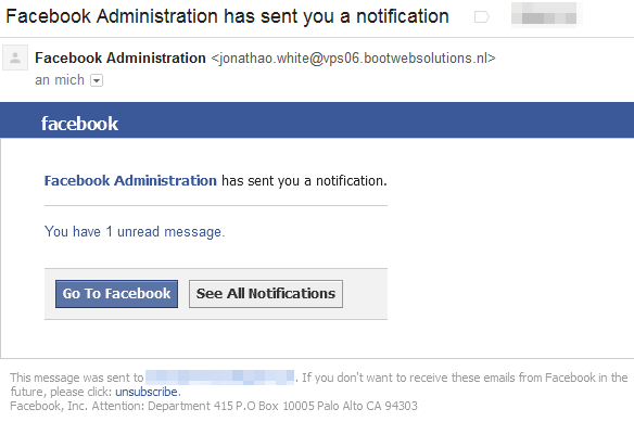 Facebook Administration has sent you a notification