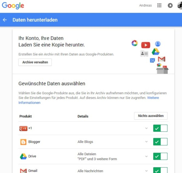 Google Takeout - Google-Backup