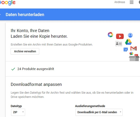 Google Takeout: Downloadformat anpassen