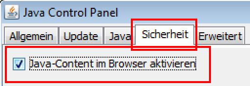 Java-Einstellungen: Sicherheit