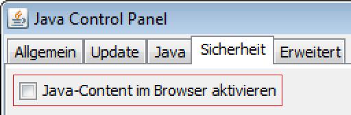Java im Browser deaktivieren