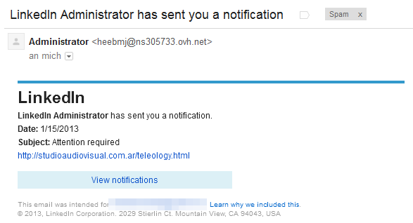 LinkedIn Administrator has sent you a notification