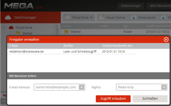 Mit Freigaben gibt man anderen Mega-Nutzern Zugriff auf Dateien