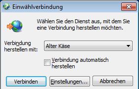Windows 7: nervende PPPoE-Einwählverbindung