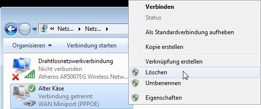 Windows 7: PPPoE-Einwählverbindung löschen