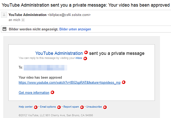 YouTube Administration has sent you a private message: Your video has been approved