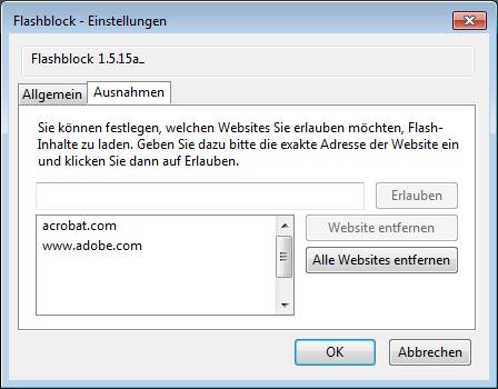 Flashblock-Einstellungen: Die Whitelist legt fest, auf welchen Websites Flash erlaubt ist