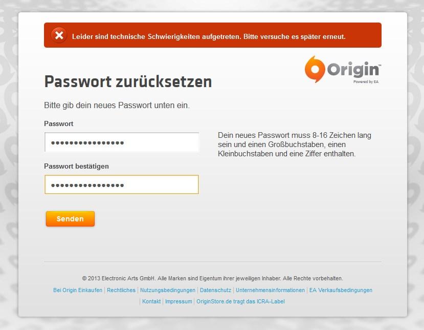 Origin-Passwort funktioniert nicht