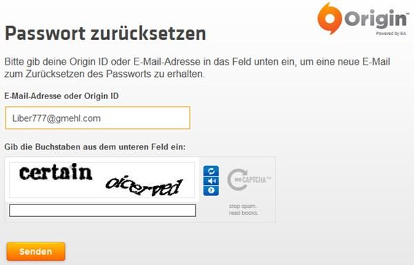 Origin: Passwort zurücksetzen