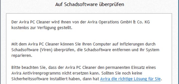 Avira PC Cleaner: Start