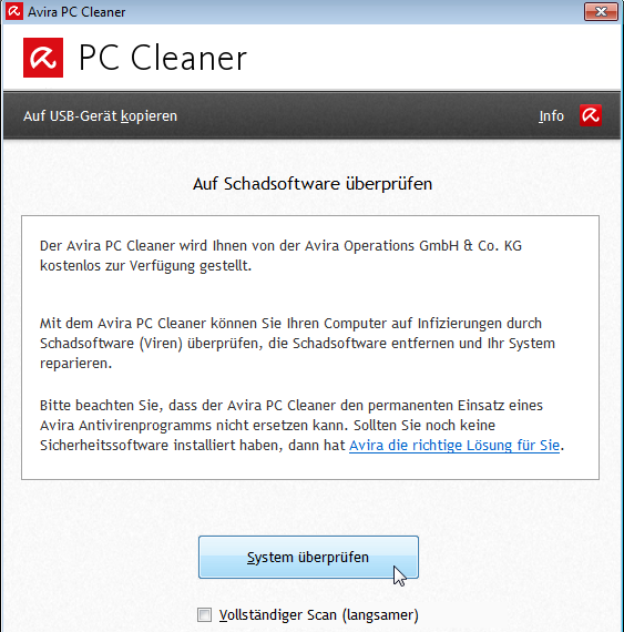 Avira PC Cleaner: Start