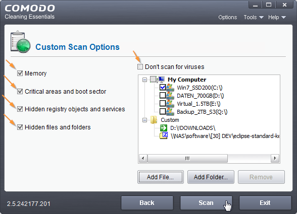 Comodo Cleaning Essentials: Custom Scan
