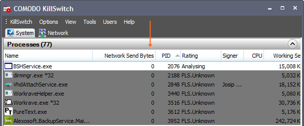 Comodo KillSwitch: Network