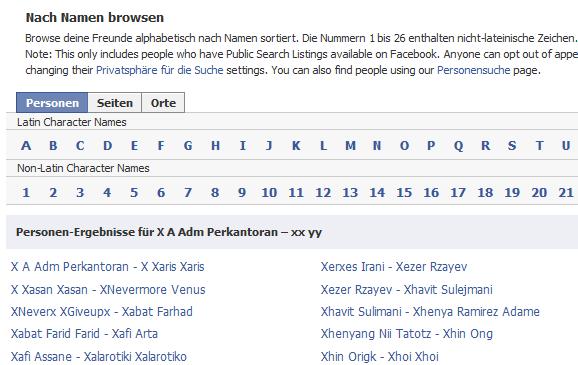 Facebook-Namensverzeichnis