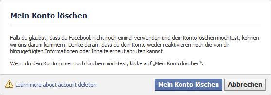 Facebook Account löschen, Facebook Konto löschen, bei Facebook abmelden