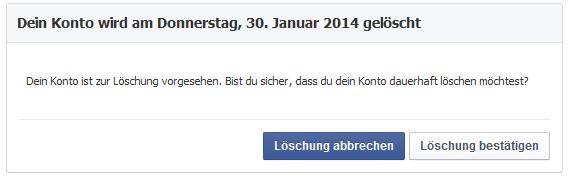 Facebook löschen? Hier bestätigen oder abbrechen …