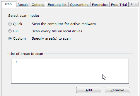 Norman Malware Cleaner: Scan Mode