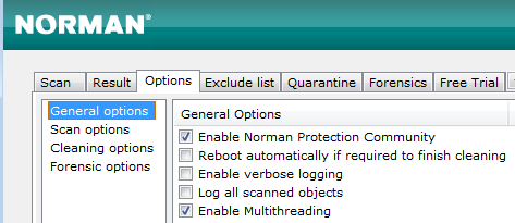 Norman Malware Cleaner: Options